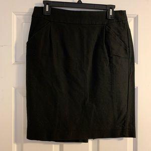 J. Crew black cotton pencil skirt 8